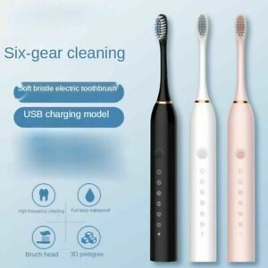Kids Adults Electric Toothbrush Sonic Rechargeable 5 Modes  Brush 4 Heads USB