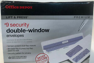 Office Depot Lift Press Double Window #9 Security Envelopes, Lot of 25