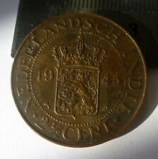 NETHERLANDS INDONESIA DUTCH EAST INDIES 1945 2-1/2 CENTS 'GEF'.