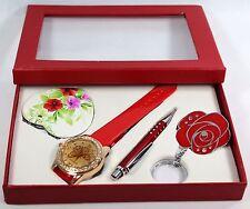 Chicas Gran Reloj, Espejo, Pluma Y Llavero Rojo Conjunto de Regalo para Niñas