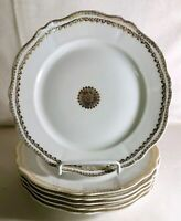 "6 O.& E.G. Royal Austria Gold Decorated Porcelain 8 3/4"" Luncheon Plates"