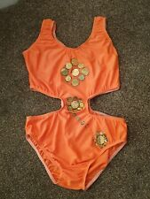 Orange leotard with side cut out  size 10/12