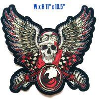 XLarge Skull Wing Racing Biker Harley Davidson MC Club Iron On Vest Jacket Patch