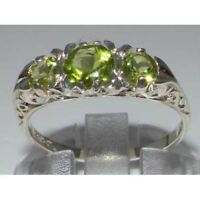 VINTAGE Insp Solid 925 Sterling Silver High Quality Natural Peridot Trilogy Ring