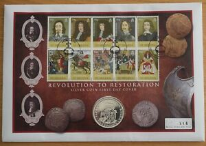 PNC Restoration of the Monarchy £5 .925 silver £5 coin and stamp cover