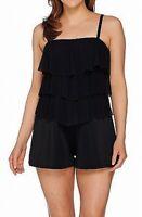 Fit 4 U Womens Swimwear Black Size 14 Mesh Tiered Romper One-Piece $77 793