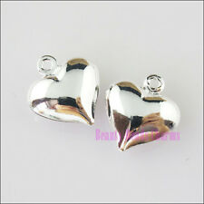 12Pcs New Charms Smooth Heart Pendants Silver Plated 11.5x13mm