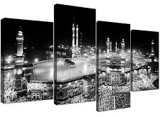 Large Black and White Islamic Mecca Temple - Multi 4 Panel 130cm Wide Canvas