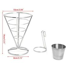 1 PC French Fries Chip Cone Holder Metal Iron Wire Bowl Kitchen Fry Food Stand