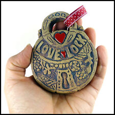 Pottery Art Love Lock Hanging Decoration With Red Love Hearts - By Zoo Ceramics
