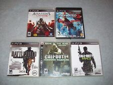 Battlefield:Bad Company 2,Uncharted 2,Assassins Creed II,Call of Duty 4 &MW3 PS3