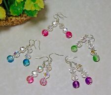 Handmade Crystal and Crackle Glass Drop Earrings