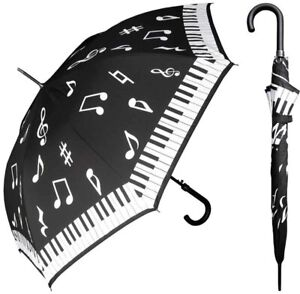 """Rain Stoppers #W042 Auto Open Piano Print Arc Umbrella with Hook Handle,46"""""""