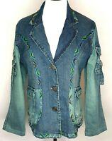 Petriiski Vintage 90s Blue Long Denim Pockets Button Up Jacket Size Medium
