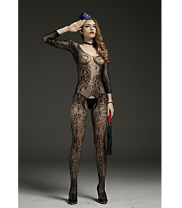 Sexy Lingerie, Long sleeve, crutchless body stocking with lace detail