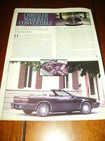 1987 CHRYSLER MASERATI DE TOMASO ***ORIGINAL ARTICLE***