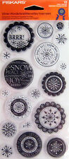 Fiskars Winter Wonderland Clear Stamps Snowflake Brrr! Peace Let it Snow 4x8 Nip