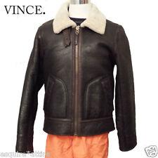 VINCE Men Pilot Leather Shearling Brown Jacket Size L Slim Fit Bomber Jacket