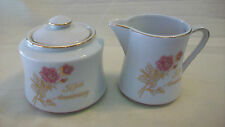 50TH ANNIVERSARY SUGAR & CREAMER SET, ROMANTIC ROSE FROM JAPAN, WHITE WITH GOLD