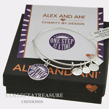 """Authentic Alex and Ani """"One Step at a Time"""" CBD Shiny Silver Expandable Bangle"""