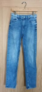 M&S size 8 long blue stretch denim high rise straight leg jeans W27 L31