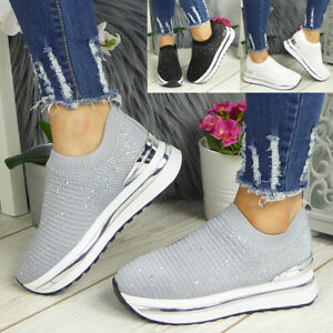 Ladies Sock Bling Trainers Womens Sneakers Ankle Pull On Comfy Wedge Pumps Shoes