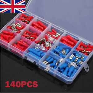 140PCS Insulated Electrical Wire Terminal Crimp Connectors Spade Assorted Kit