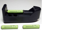 Three AAAA, Rechargeable, Ni-MH, 1.2V batteries w. Charger for Ni-MH batteries.