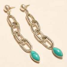 Natural Afghan Turquoise Cocktail Earrings 925 Sterling Silver New Year Jewelry