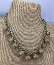 Vintage Style Necklace Chinese Picture Jasper Gemstone Graduated bead Choker