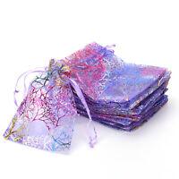 25pcs 12x9cm Coralline Organza Jewelry Pouch Wedding Party Favor Gift Bag EF