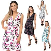Womens Floral Print Dress Midi Drape Ruched Front Knot Tie Belt Casual Party