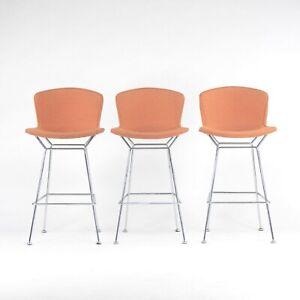 Set of 3 Harry Bertoia Knoll Wire Chrome Bar Stools w/ Orange Fabric Full Covers