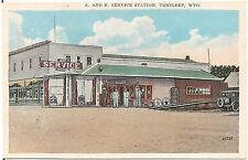 A. and F. Service Station in Tensleep WY Postcard Gas Pumps