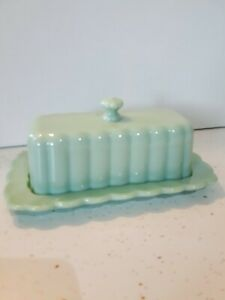 Pioneer Woman Jadeite Green Glass Covered Butter Saver Dish