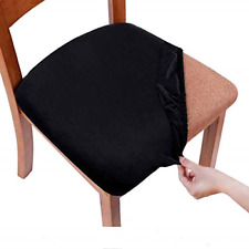 smiry Stretch Chair Seat Covers for Dining Room, Velvet Dining Chair Seat Chair