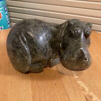 Vintage Hand Carved Artist Signed Hippo Soapstone Rock Polish Kucheza V. OOAK