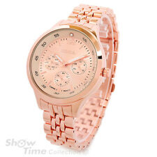 Rose Gold Bracelet 3D Geneva Crystal 12 Women's Medium Size Watch