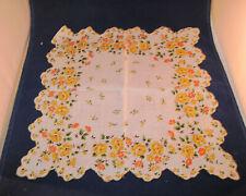 Vintage Handkerchief Scalloped Edge with Orange and Yellow Flowers hanky