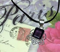 EXQUISITE AFRICAN AMETHYST *GERMAN SILVER DESIGNER PENDANT - 1-3/4 INCHES