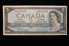 1954 Canada. ($5) Five Dollars. Series H/X. Beattie-Rasminsky.
