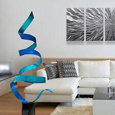 Aqua & Blue Modern Indoor/Outdoor Metal Art Sculpture by Jon Allen - Bliss Twist