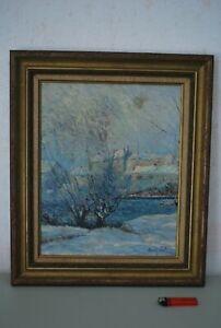 Superbe tableau peinture a l'huile René Juste (1868-1954) Paysage sous la neige