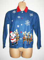 VTG Womens TANTRUMS Blue Button Down Ugly Xmas Shirt Rockettes Reindeer Small S
