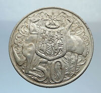 1966 AUSTRALIA - UK Queen Elizabeth II SILVER 50 cents Coat-of-Arms Coin i71632