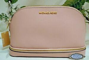 NWT MICHAEL KORS JET SET Travel Cosmetic Pouch In BLOSSOM PINK Saffiano Leather