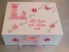 Beautiful Personalised Large Memory Box/ Baby Birth/ Christening/ Flowergirl