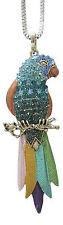 Collier, pendentif motif perroquet multicolore avec strass, B2..