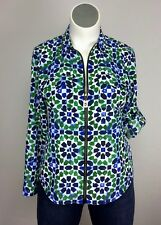MICHAEL Michael Kors L Blue Green White Geometric Blouse Top Shirt Jacket Zipper