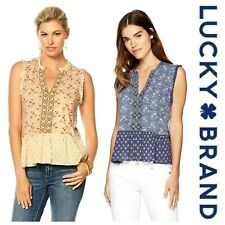LUCKY BRAND  SEXY BOHO CHIC FLORAL MIX  PRINT PEPLUM  TANK BLOUSE TOP   NWT $ 70
